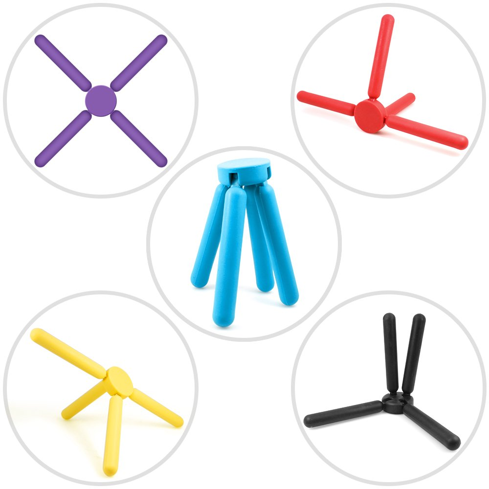 6 Pack Non-slip Foldable Silicone Trivets, SourceTon Collapsible Cross Design Silicone Trivets in Cute Colors, Silicone Pot Holder, Hot Pad, Pot Holder, Free Bonus Spoon Rest/Balloon Whisk Rest by SourceTon (Image #6)