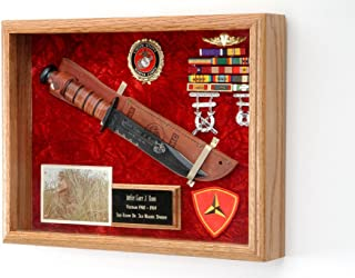 "product image for All American Gifts Military Knife or Pistol Display Case - Wall Mount Shadow Box - 16"" x 12"" x 3"" (USMC Emblem/Red Velvet)"