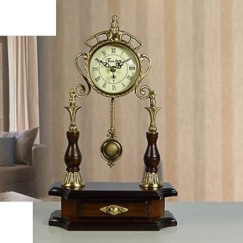 relojes antiguos europeos mudos/ reloj de bronce de salón/ reloj chino grande moderno/Moda creativa dormitorio reloj mesa ornamento-A: Amazon.es: Hogar