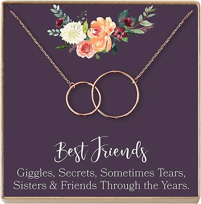 Best Friend Gift Necklace: BFF Necklace, Best Friend Gift Jewelry, Long  Distance, Quotes, Friends Forever, 2 Linked Circles