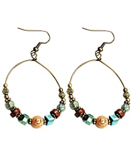 Bohemian Big Circle Hook Earrings Mujeres Moda Étnico Faux Turquoise Earrings