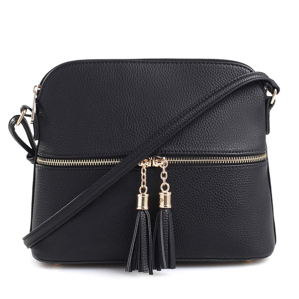 SG SUGU Lightweight Medium Dome Crossbody Bag with Tassel | Zipper Pocket | Adjustable Strap (Black) by SG SUGU
