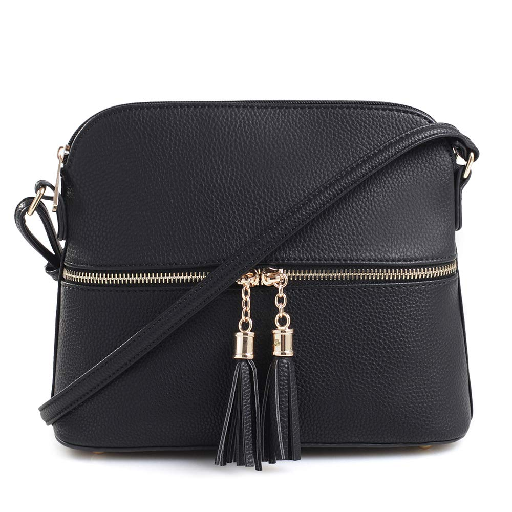 SG SUGU Lightweight Medium Dome Crossbody Bag with Tassel | Zipper Pocket | Adjustable Strap (Black)