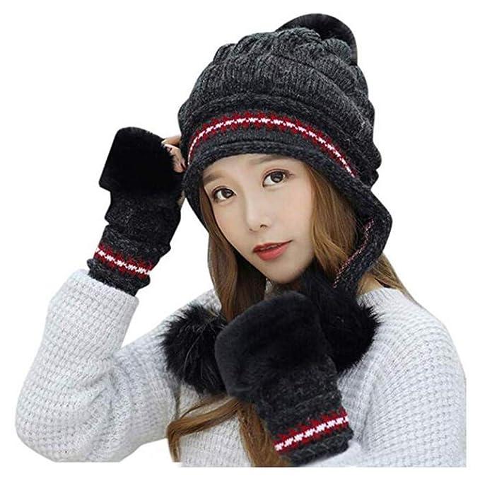 Jiuhexu Women Peruvian Earflap Beanie Hat Warm Knit Earflap Hat Gloves Set  (Black) f6ee533d0