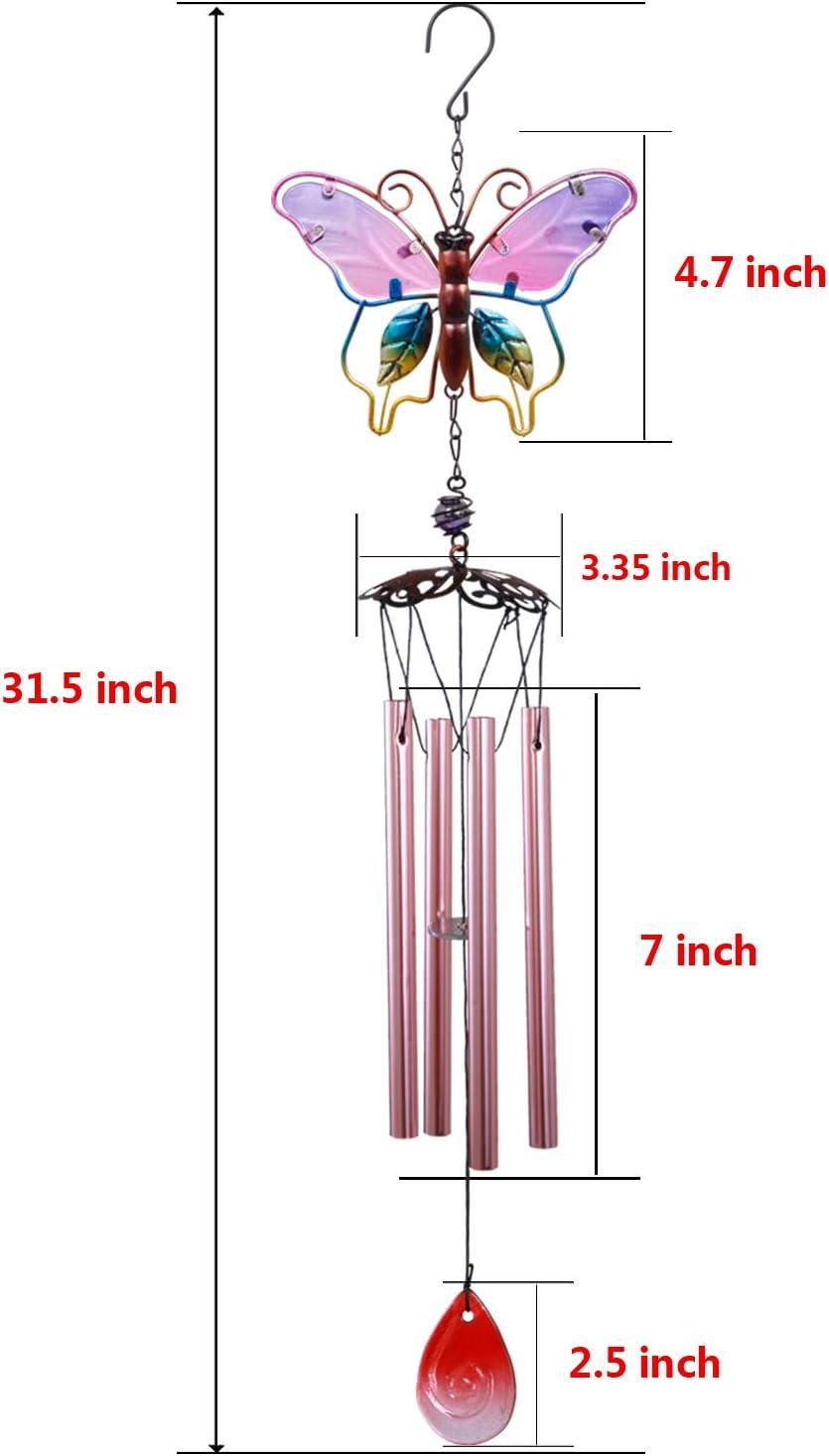 Sweet Do 2 Pcs Wind Chime Metal Wind Spinner Butterfly Wind Bell for Patio Lawn Garden Decor