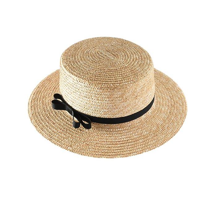 f5b7c3f8 Lisianthus Women Straw Boater Hat - Summer Fedora Panama Flat Top Sun Hat  5cm Khaki