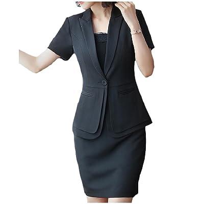 Abetteric Womens Elegant Pure Color Short Sleeve Jacket Skirt Suit Set