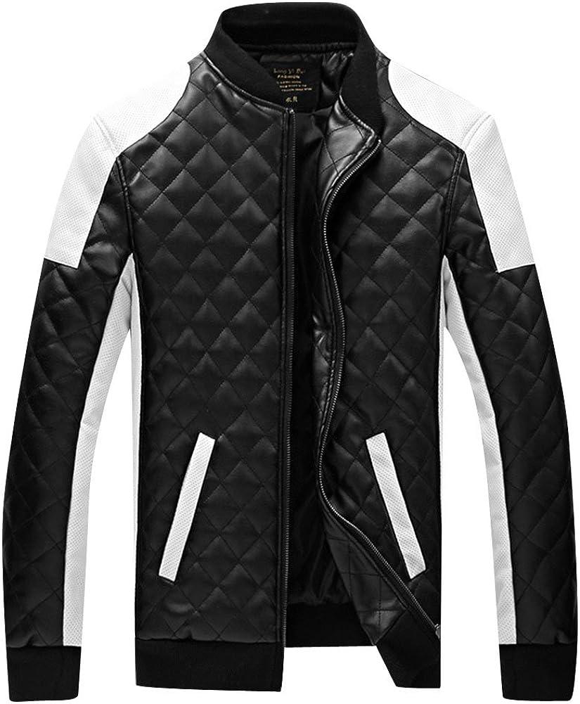 DianShao Herren Pu Leder Biker Geteppt Slim Fit Modern Freizeit Mantel Jacken Outwear