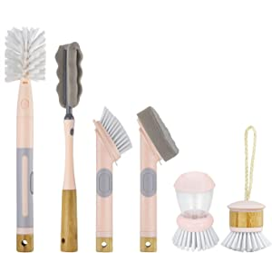 Cook with Color 6 Pc Kitchen Dish Brush Set, Scrub Brush for Dishes, Scrub Brush with Soap Dispenser, Palm Brush, Bottle Brush (Pink)