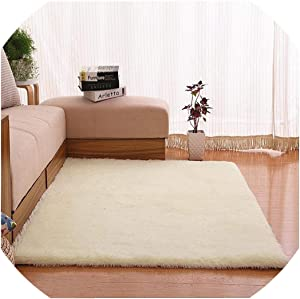 Plush Fabric Anti-Slip Mat Thick Floor Carpets for Living Room Plain Color Bathroom Water Absorption Floor Rug Mat Cuatom Size,White,60X120Cm