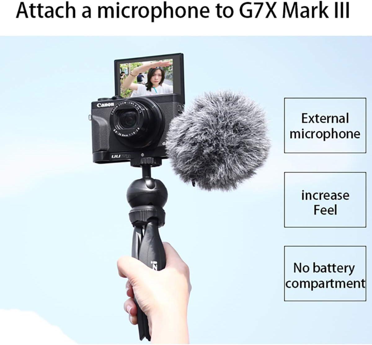 Soporte UURig C-G7X Mark III Vlog para c/ámara Canon Vlog G7X Mark III Agarre c/ómodo de Mano con micr/ófono//Soporte de extensi/ón de Zapata fr/ía con luz LED Cabezal de tr/ípode