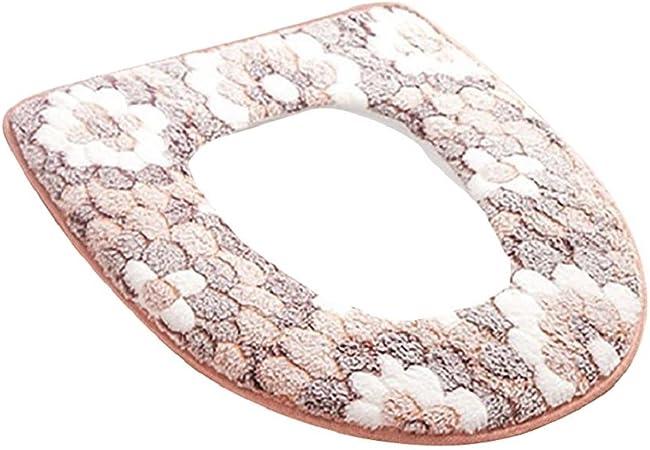 Green Couverture pour lunette de WC au motif floral Taille unique Housse en tissu douce et rembourr/ée pour lunette de toilettes