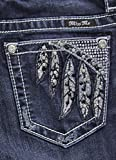 Miss Me Women's Indigo Feather Pocket Slim Fit Jeans Boot Cut Indigo 32