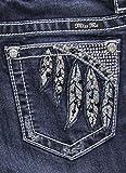 Miss Me Women's Feather Embellished Slim Boot Cut Denim Jean, Dark Blue, 28