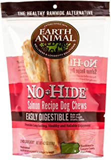 product image for Earth Animal No-Hide Wild-Caught Salmon Medium Natural Rawhide Alternative Dog Chews, 2-Count