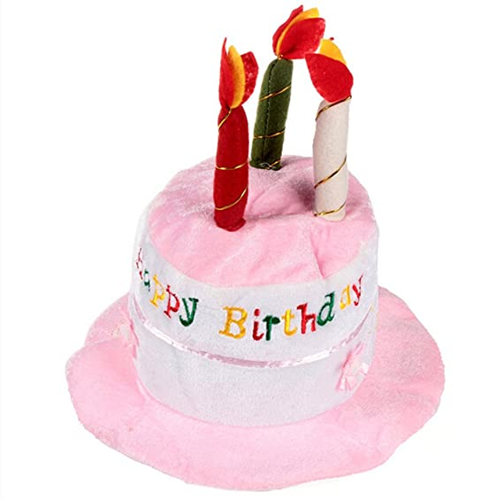Cartoon Pink Plush Birthday Cake Hat With 3 Candles
