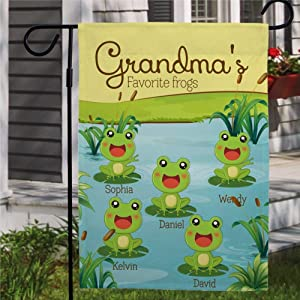 "DONL9BAUER Grandmas Favorite Frogs Garden Flag Vertical Double Sided Personalized Grandkid Names, Sunflower Flag Mothers Day Present Yard Flag Banner Seasonal Lawn Outdoor Decoration 12""x18"""