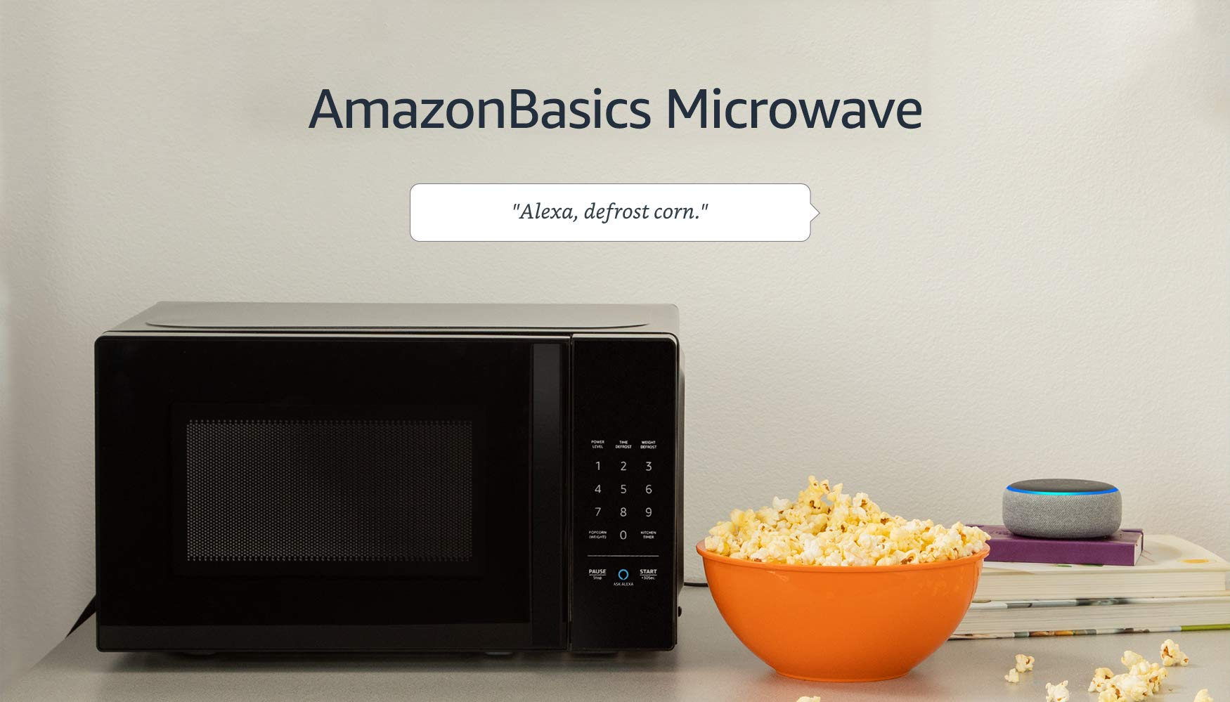 Amazon Basics Microwave bundle with Echo Dot (3rd Gen) - Charcoal 7 Now it's easier to defrost vegetables, make popcorn, cook potatoes, and reheat rice. With an Echo device (not included), quick-cook voice presets and a simplified keypad let you just ask Alexa to start microwaving. Automatically reorder popcorn when you run low and save 10% on popcorn orders-enabled by Amazon Dash Replenishment technology Compact size saves counter space, plus 10 power levels, a kitchen timer, a child lock, and a turntable.