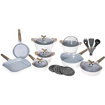 Cecotec Batería de Cocina de 19 Piezas Premium White Stone Sartenes y ollas de Alta Gama. Revestimiento Ceramium. Aptas para Todas Las cocinas.