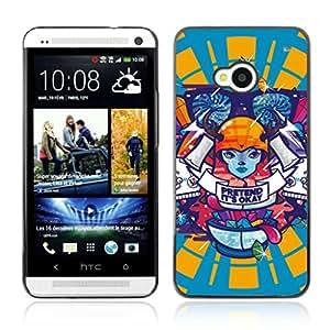 A-type Arte & diseño plástico duro Fundas Cover Cubre Hard Case Cover para HTC One (M7) ( Patrón Hipster Psychedelic )