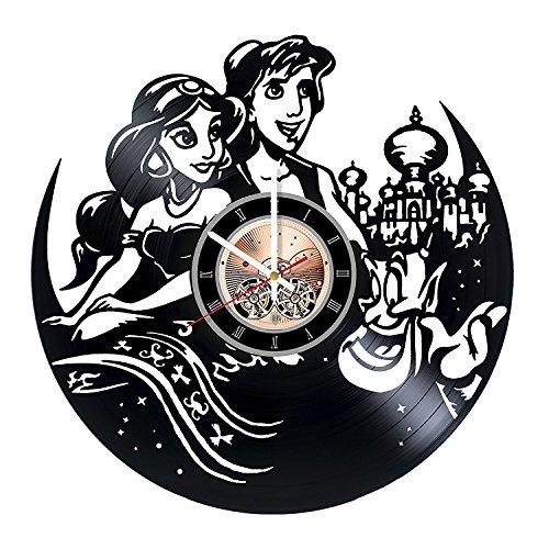 Modern Day Aladdin Costume (Aladdin Princess Jasmine Disney Vinyl Record Wall Clock - Get unique Nursery Room wall decor - Gift ideas for kids, children – Cartoon Unique Modern Art)