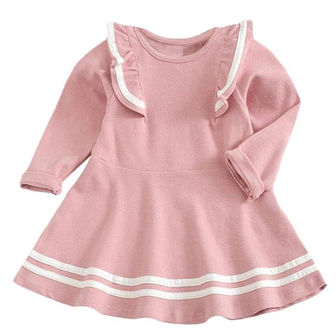 SamMoSon♥♥Ropa para Niña Vestidos BebéS Faldas Vestido Ceremonia Manga Larga Camisetas Bebe Invierno Ropa bebé recién Abrigo otoño cumpleaños Reborn ...