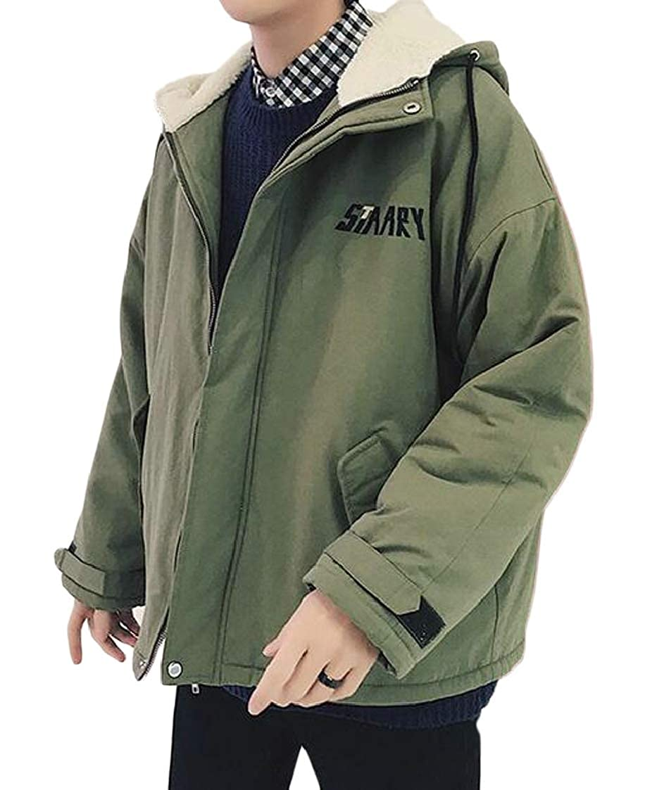 Fubotevic Mens Thickened Thermal Plus Size Hooded Loose Fit Zip Up Quilted Jacket Coat Outerwear