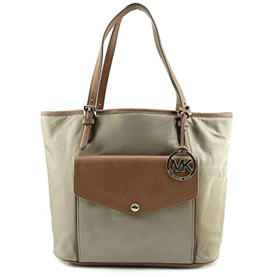 5ff025b291ae Amazon.com: Michael Kors Jet Set Nylon Pocket Tote - Dusk/Saddle: Shoes