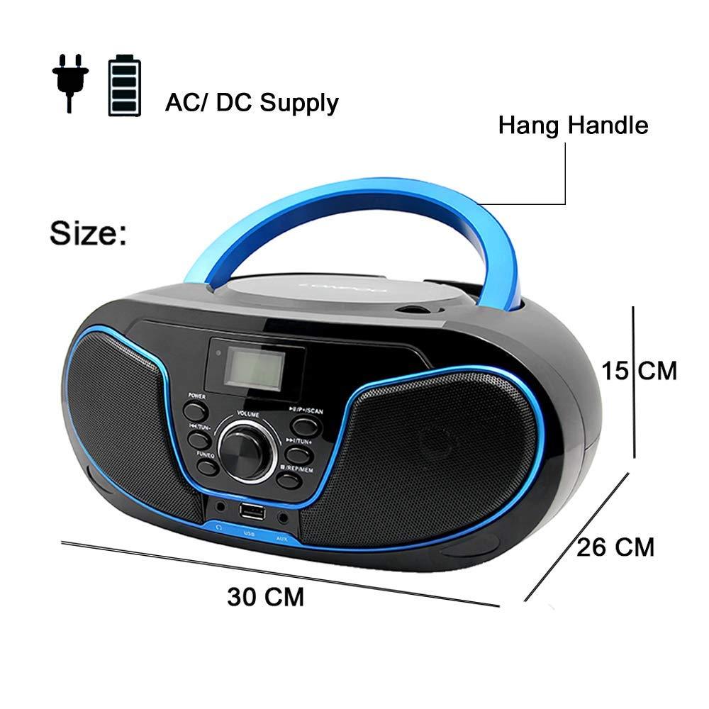 Batterie//Netzbetrieb LONPOO Tragbarer CD-Player f/ür Kinder Stereo Boombox Bluetooth mit UKW-Radio Port f/ür USB//Aux-in//Kopfh/örer Blau + schwarz