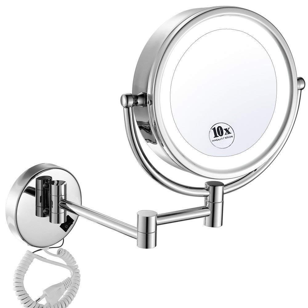 ZHIJINLI Specchietti da Trucco con Supporto da Parete a LED da 8, 5 Pollici con ingrandimento 10x