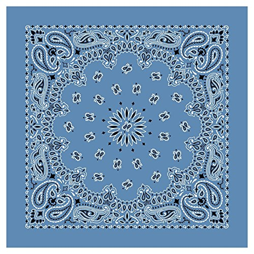 """100% Cotton Western Paisley Bandanas (22"""" x 22"""") Made in USA - Chambray Blue Single Piece 22x22 - Use For Handkerchief, Headband, Cowboy Party, Wristband, Head Scarf - Double Sided Print"""