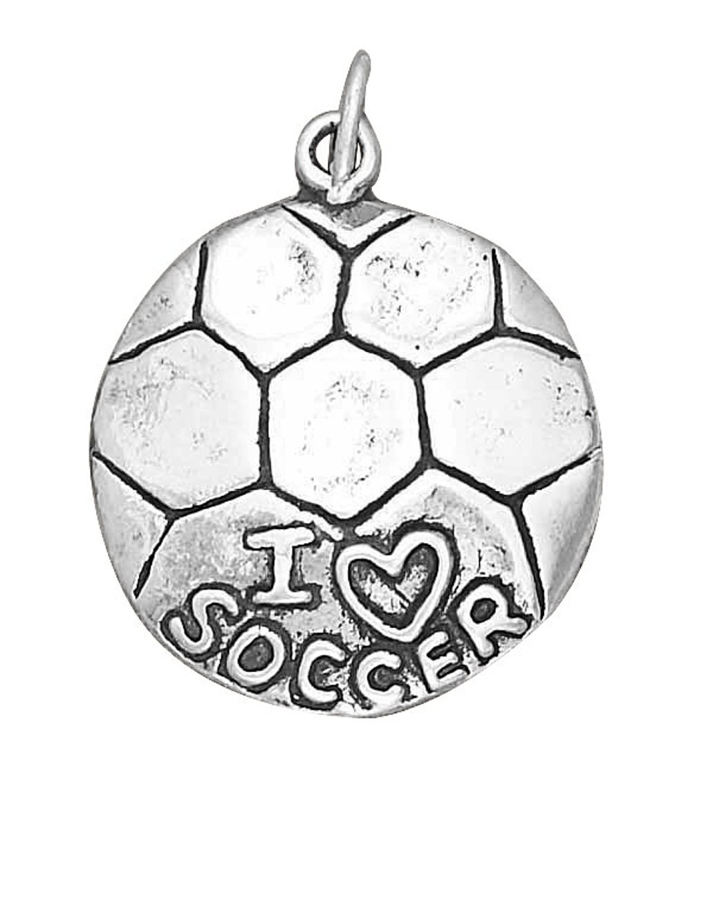 Sterling Silver 24'' Men's 1.5mm Box Chain ''I LOVE SOCCER'' Sports Pendant Necklace