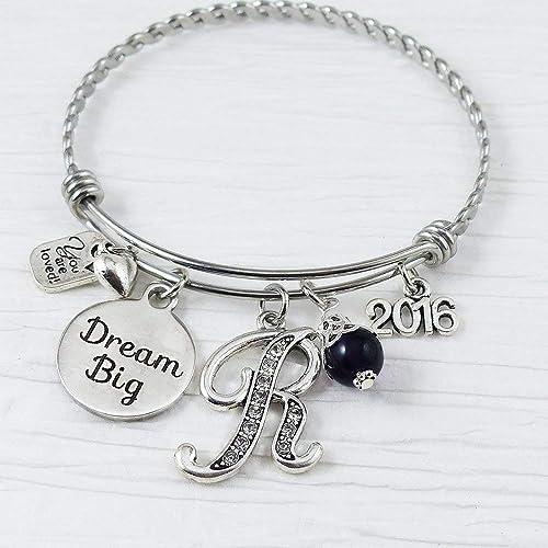 5e6bfa8c1 2019 Grad gift, Dream Big Bangle Bracelet, Graduation Jewelry, 2020 or 2018  Graduate Bracelet, Initial Letter Charm Bracelet, Expandable, You are  loved, ...