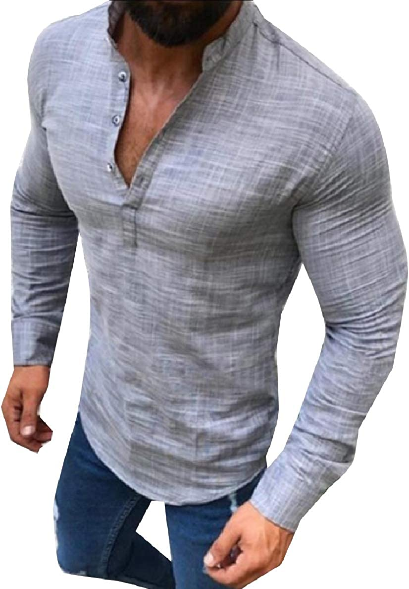 Winwinus Mens Baggy Button Linen Ethnic Style Solid Shirt Tops Blouse Tops
