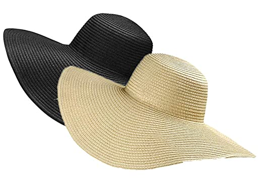 3ed35e150acfe ASSQI Straw Hat Floppy Beach Hat Sun Hat Foldable for Women 2 Pack ...