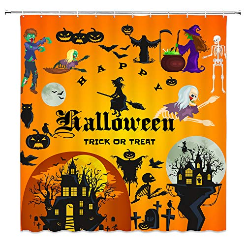 Halloween Party Decor Orange-yellow Shower Curtain Castles Wizard And Witch Monster Pumpkins Festive Design,70x70 Inches Waterproof Polyester Fabric Bathroom Accessories Curtains With 12pcs Hooks -