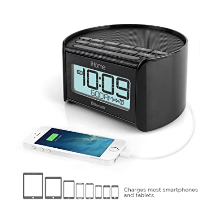 iHome IBT230BBC Bluetooth Bedside Dual Alarm Clock Radio (Black) with Speakerphone, USB Charging and Line-in <span at amazon