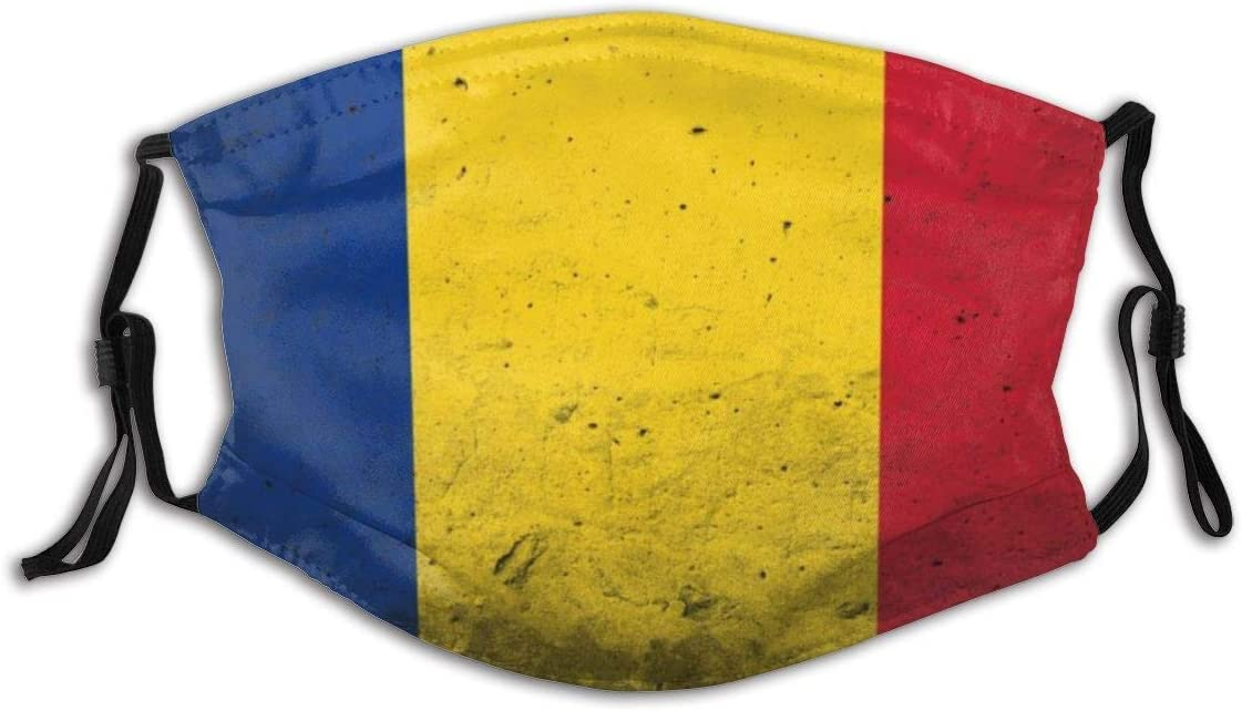 Gooeyokoi Mundschutz Gesichtsschutz Grunge Flagge von Rum/änien Waschbar Atmungsaktive Staubdicht Schutz Bandana Schal mit Filter