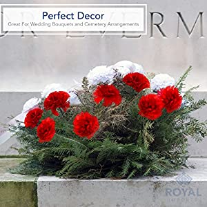 """Royal Imports 100 Silk Carnations, Artificial Fake Flower for Bouquets, Weddings, Cemetery, Crafts & Wreaths, 5"""" Stem Pick (Bulk) (Baby Blue) 5"""