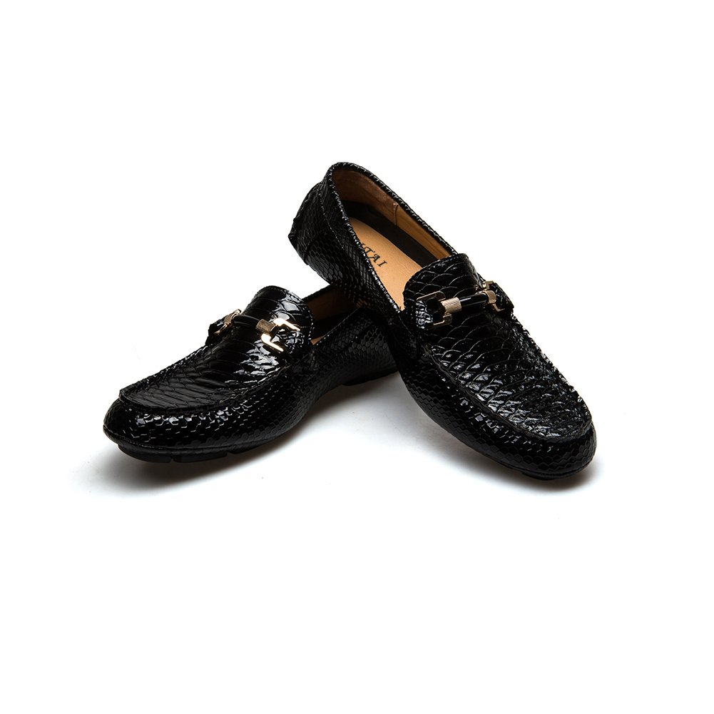 aa1defcb487 JITAI Men s Casual Leather Loafers Breathable Leather Metal Buckle Driving  Shoes (9.5 (D) M US