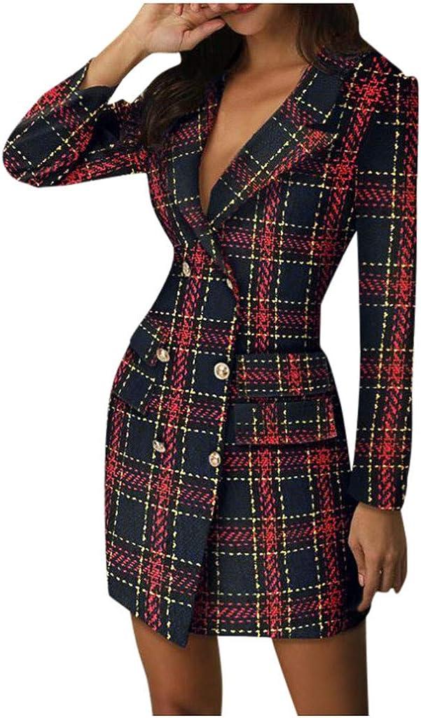HENWERD Womens Winter Dress Fashion Double Breasted Pea Coat Dress Lapel Slim Long Sleeve Short Dress