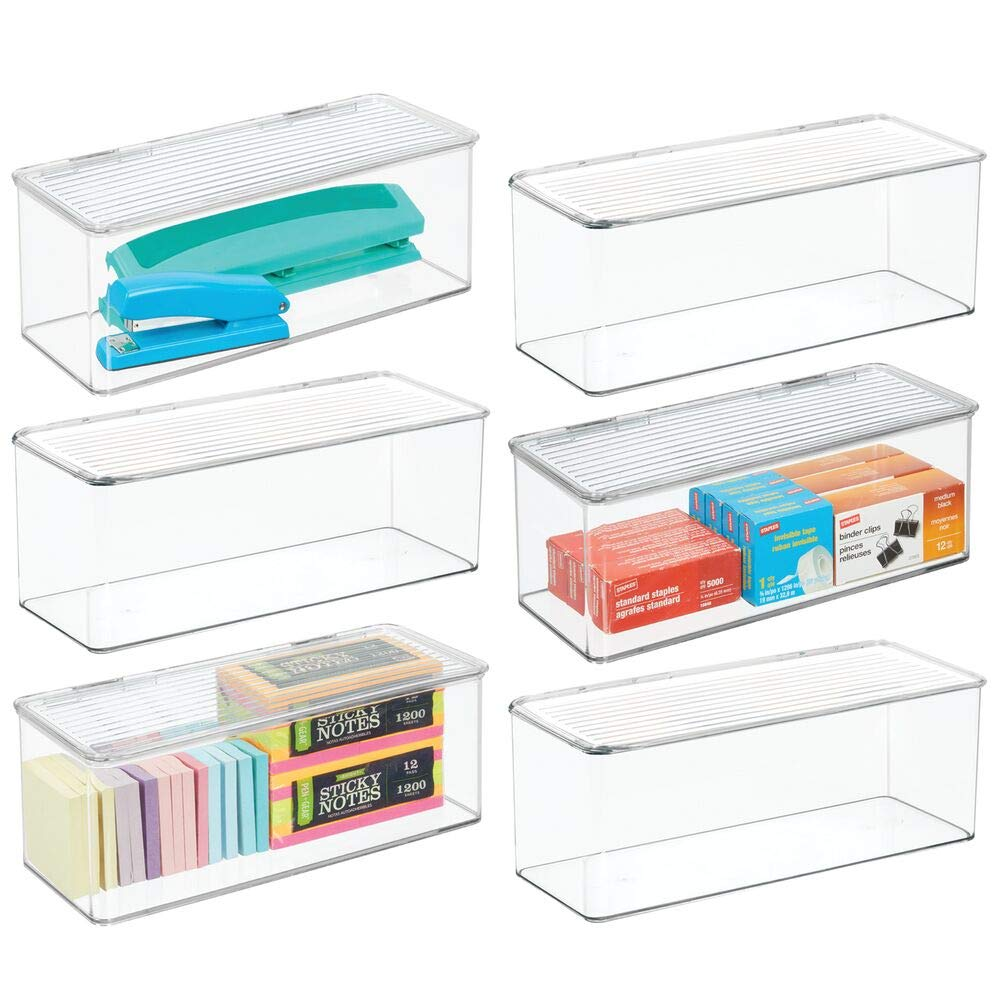 mDesign Long Plastic Stackable Home, Office Supplies Storage Organizer Box with Attached Hinged Lid - Holder Bin for Note Pads, Gel Pens, Staples, Dry Erase Markers, Tape, 6 Pack - Clear by mDesign