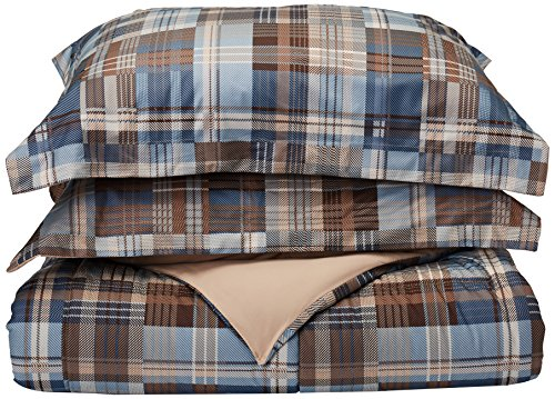 Woolrich White River Full/Queen Size Bed Comforter Set – Grey Blue, Plaid – 3 Pieces Bedding Sets – Ultra Soft Microfiber Bedroom Comforters