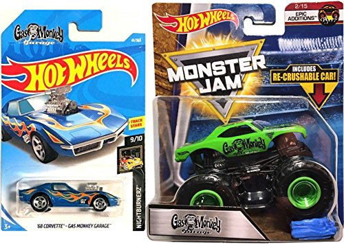 Hot Rod Project Cars (Hot Wheels 2018 - '68 Corvette - Gas Monkey Garage (Blue) NightBurnerz #41 + MONSTER JAM Truck Green Epic Additions Fast & Loud with a Crushable car)