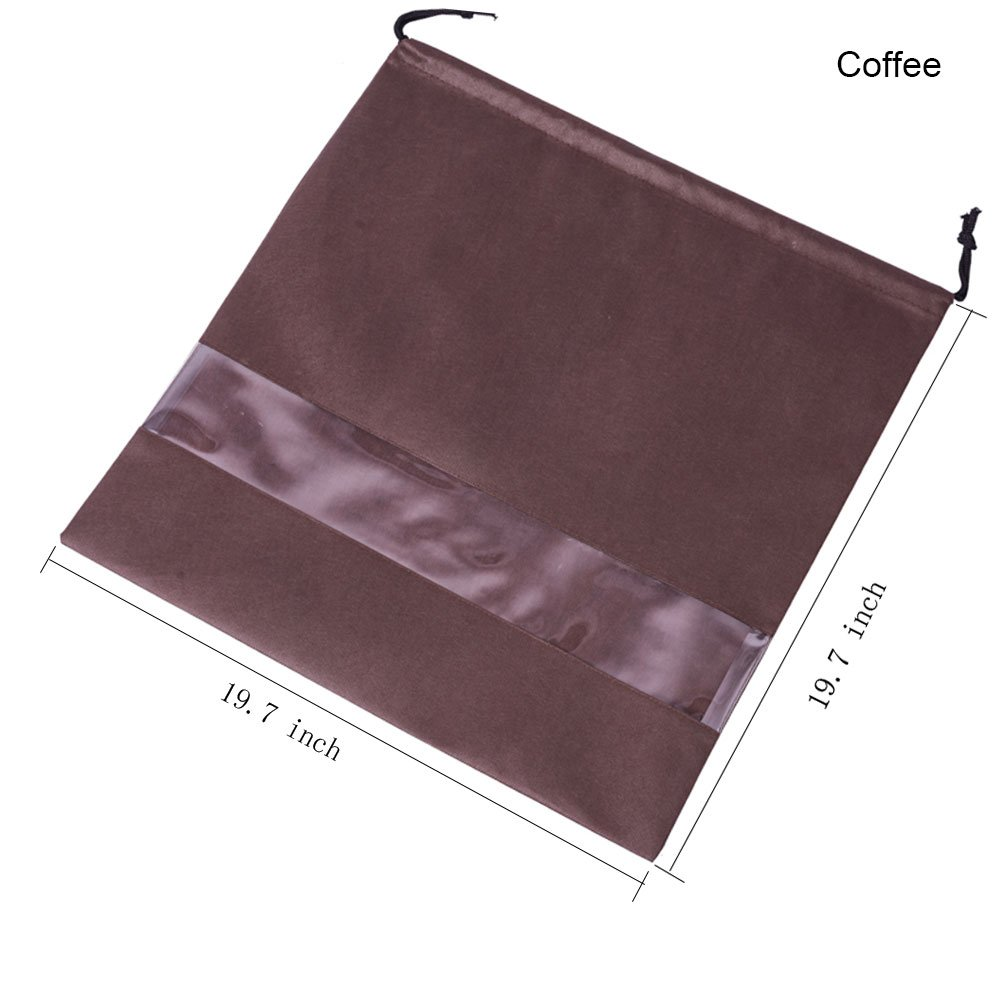 2 PCS Purse Bags For Storage Perspective Window Storage Bag Non-woven Breathable Drawstring Pouch Handbag Dust Bags (Windows-coffee)