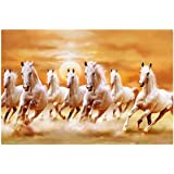 Sticker Studio Wall Poster (White Horses,Wall Covering Area - 24 x 18 Inch) PVC Vinyl