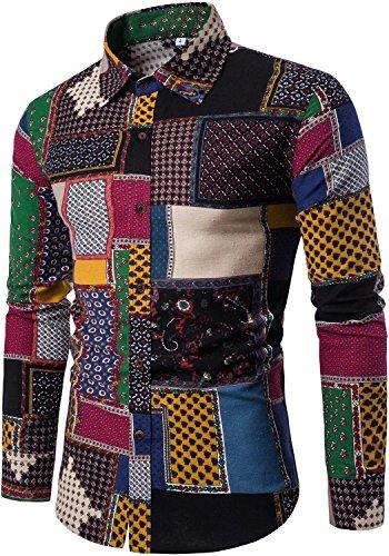 Hawaiian Tribal Designs - Men's Long Sleeves Novelty Design Tribal Patchwork Regular Fit Button Down Dress Shirt, CS8, S/36R = Tag XL