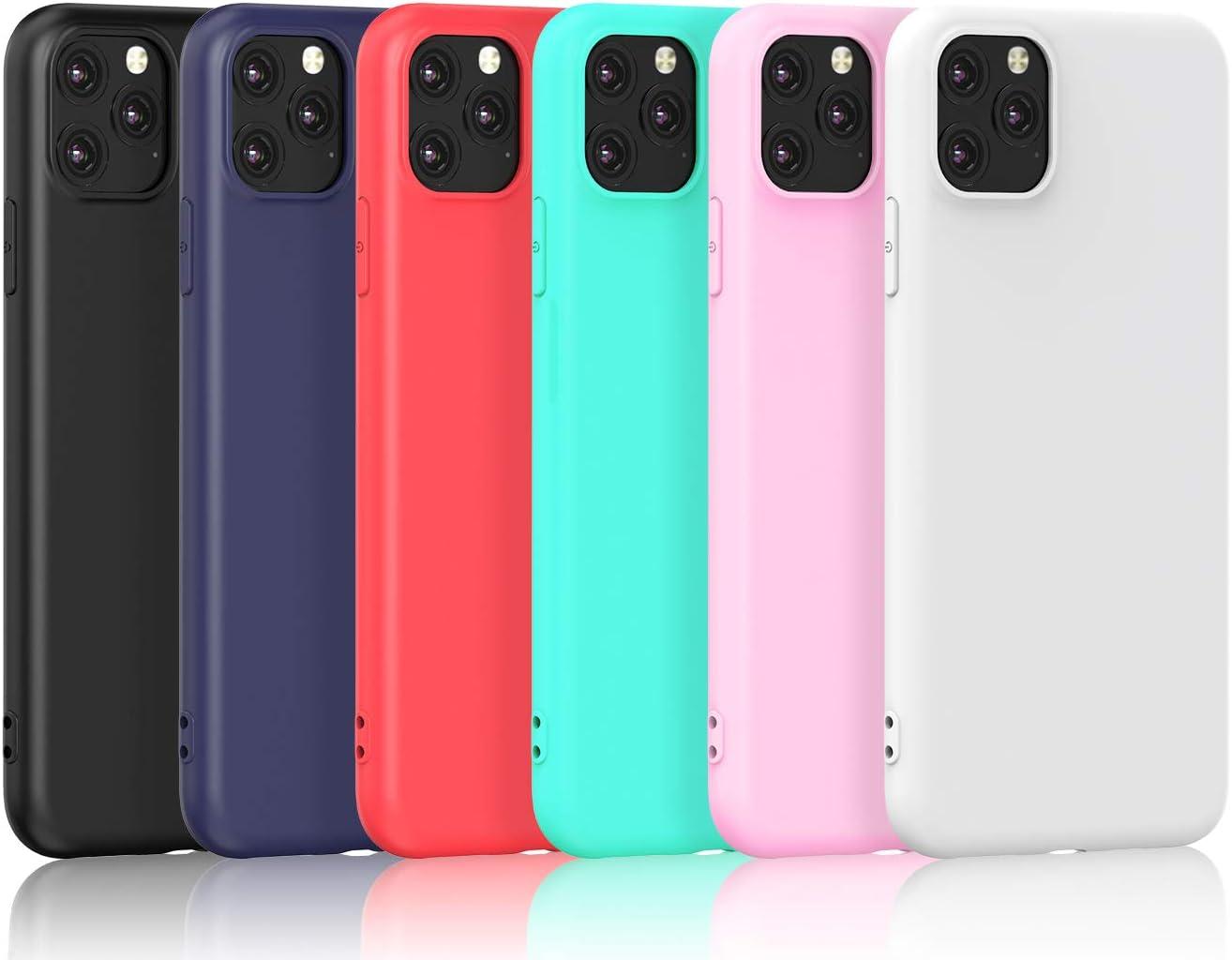 VGUARD 6 x Funda para iPhone 11 Pro 5.8 Pulgadas 2019, Ultra Fina Carcasa Silicona TPU de Alta Resistencia y Flexibilidad (Negro, Azul Oscuro, Rojo,Verde, Rosa, Transparente)