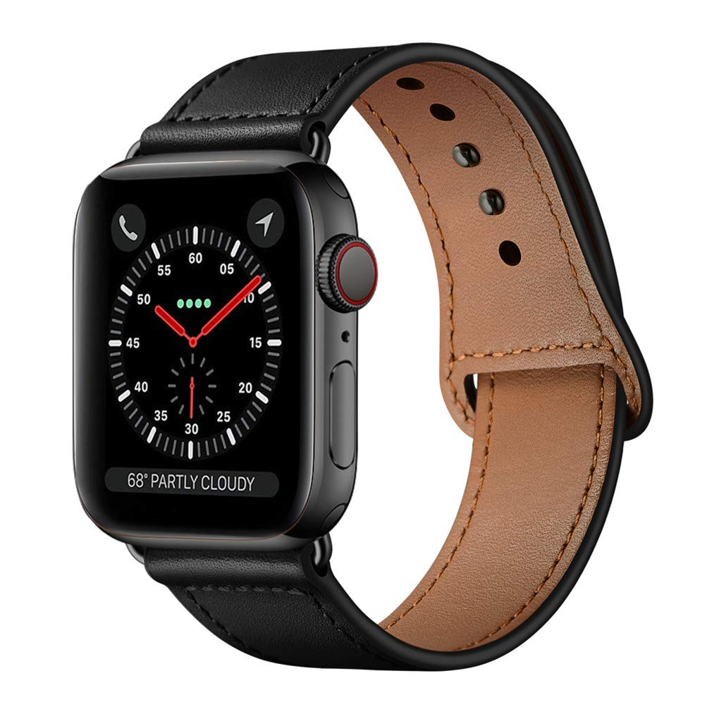 KYISGOS Compatible with iWatch Band 44mm 42mm, Genuine Leather Replacement Band Strap Compatible with Apple Watch Series 5 4 3 2 1 42mm 44mm, Black by KYISGOS