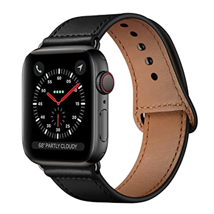 b822d4ed1644 KYISGOS Compatible with iWatch Band 44mm 42mm, Genuine Leather Replacement Band  Strap Compatible with Apple